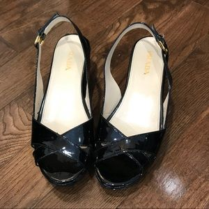Prada opened toe wedge